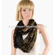 China factory lady fashion 100%polyester volie bronzing plain loop scarf