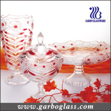 3PCS Diamond Colorful Glass Set of Vase&Candy Jar&Plate