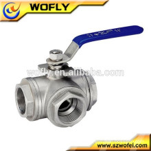 2pc stainless steel 3 way panel mount ball valve