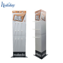 High Quality Portable POP Template Cardboard Floor Tiles Display Racks With Hooks