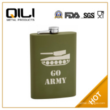 FDA 12oz Olive Drab (Army Green) Flask with Thick Rubber Coating