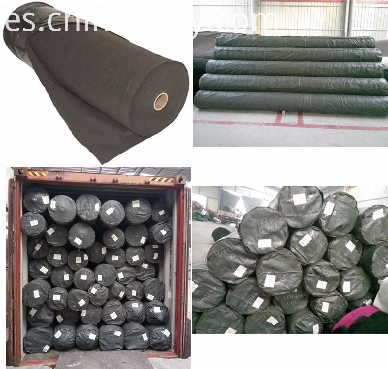 black geotextile on roll