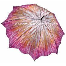 Wärmeübertragung voller Blumendruck gerader Regenschirm (YSC0018)
