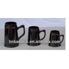 Haonai 2014 grandes tasses de bière en céramique noire, tasse à bière multi-tailles