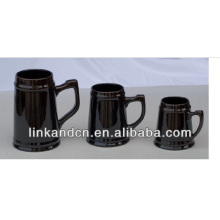 Haonai 2014 large black ceramic beer mugs,multi-sizes beer mug