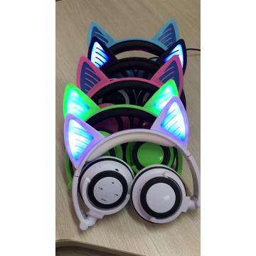 Fábrica Atacado Glowing LED Light Blue Headphone fone de ouvido