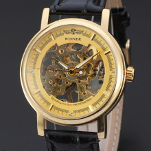 luxury mechanical watch for men golden diamond dial design