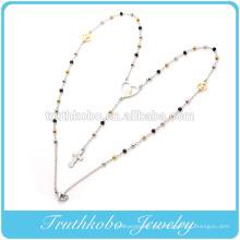 China Hersteller Modell Edelstahl zwei Ton 3mm Rosenkranz Kette der Jungfrau Maria Herzform Anhänger und Kreuz Halskette