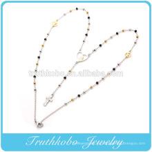 China Fabricante Modelo Acero inoxidable Dos tonos 3 mm rosario Cadena colgante en forma de corazón de la Virgen María y collar de cruz