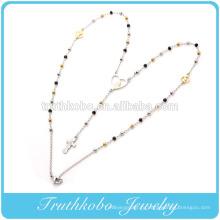 Производитель Китай модель из нержавеющей стали два тона цепи 3мм розария Девы Марии в форме сердца кулон и крест ожерелье