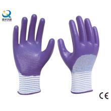 13G Polyester Zebra-Stripe, Natrile Half Coated Glove Labor Protective Safety Work Gloves (N6042)