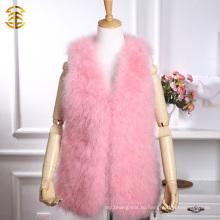 Средний длинный розовый цвет Real Turkey Feather Ladies Fur Vest
