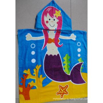 (BC-PB1018) Good Quality 100% Cotton Printed Cutely Kids Beach Poncho