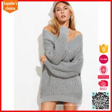 Neue Art und Weise Pullover tiefe v chunky baggy weg von der Schulterpulloverstrickjacke