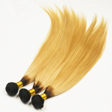 Ombre dark root black to blonde Brazilian remy human hair extension