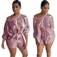 C4061  Latest trending 2019 women fall clothing sexy lady sequin two piece short set for night club wear