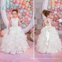 Lace Sashes Bow Cascading Ruffle Fall Wedding Flower Girl Dresses