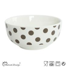 Porcelaine blanche de 13 cm avec bol de riz pleine de décalcomanie