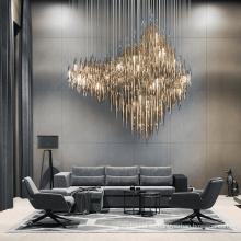 Lámpara de araña de cristal de oro personalizada para comedor de hotel