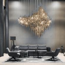 Lustre en cristal d'or de salle à manger d'hôtel personnalisé par expert