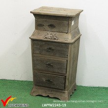 Gabinete de archivo de madera tallado de 4 cajones