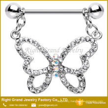 Surgical Steel Pink Clear CZ Twinkling Hollow Butterfly Dangle Nipple Ring