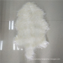 curly long hair natural or dyed color mongolian sheepskin rug