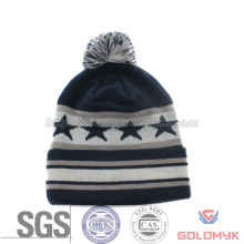 Wholesale Custom Pompom Beanie Hat Jacquard Winter Kintted Hat with Cuatom Labels