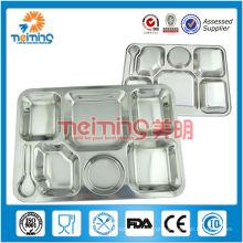 Tabuleiro de almoço em inox com 6 compartimentos