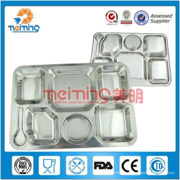 Bandeja para almuerzo de 6 compartimentos de acero inoxidable