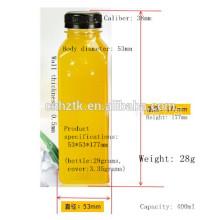 Frasco de zumo cuadrado / Frascos de zumo de PET de 400 ml / Frascos de bebidas de aluminio de alta calidad con tapa gruesa