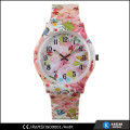 beautiful flower printing cheap silicone watches ladies