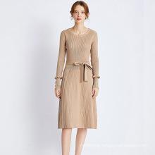 New Fashionable Knit Short Sleeve Lady Elegant Office Casual Dresses