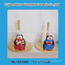 Lovely penguin ceramic tissue holder
