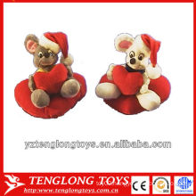 Stuffed couple christmas plush mouses toy for valentine gifts