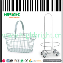 Single Handle Wire Oval Shopping Basket and Holder