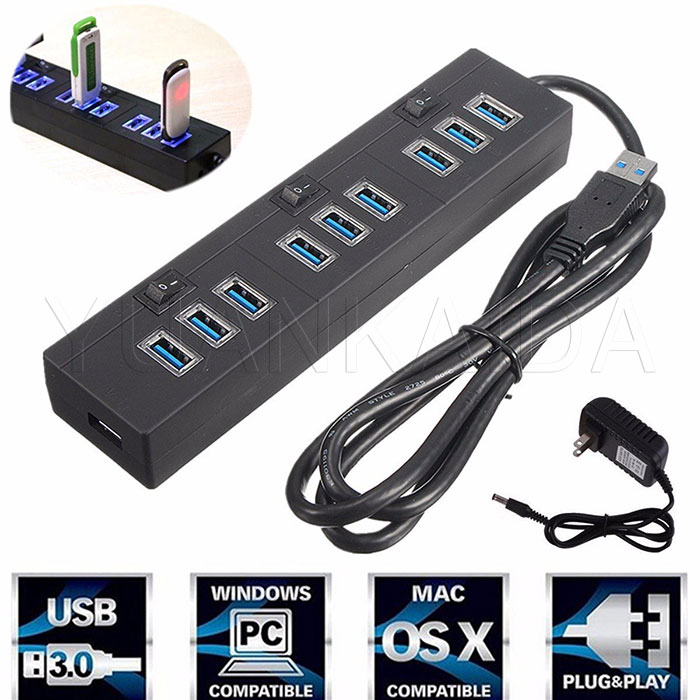 10 Port Usb 3 0 Hub With Power Adapter