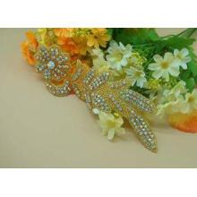 Silver Iron On Flower Design Rhinestone Beaded Applique For