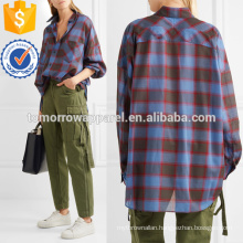 Oversized Checked Wool-blend Shirt Manufacture Wholesale Fashion Women Apparel (TA4130B)
