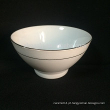 Porcelana branca footed tigela, tigela de sopa, tigela de aveia