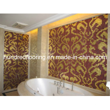 Gold Glass Mosaic Pattern Wall Tile (HMP787)