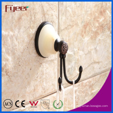 Fyeer Ceramic Base Black Bathroom Accessory Brass Hanging Robe Hook