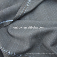 100% merino wool super 130's plaid suit fabric with selvedge
