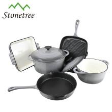 O Cookware do ferro fundido do esmalte do ferro fundido ajustou 5Piece