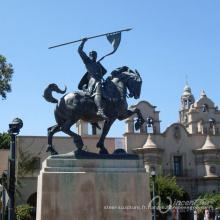 Chine fournisseur métal bronze chevalier grandes sculptures en plein air en cuivre