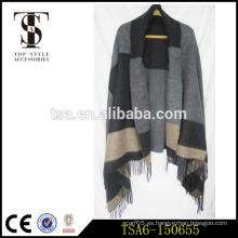 Pañuelo al por mayor de la manta de la manta del hijab del mantón de la manta del gran tamaño comprobaron las bufandas elegantes del ombre del tartán del poncho