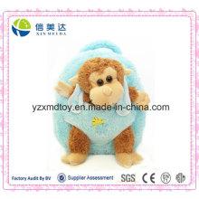 Плюшевый коричневый фаршированный кукла обезьяны синий рюкзак