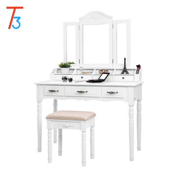 vanity table set, tri-folding necklace hooked mirror 6 organizers makeup dressing table with drawers cushioned stool