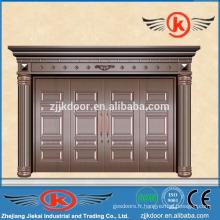 JK-C9014 villa porte principale porte en cuivre avec quatre panneaux décoratifs