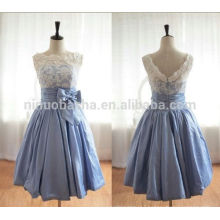 2014 Lace Top Splice Short A-Line Prom Dress Jewel Neck V-Shaped Zipper Back Knee-Length Taffeta Party Gown With Bow Sash NB0844